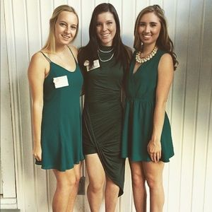 Emerald green asymmetrical high low ruched dress